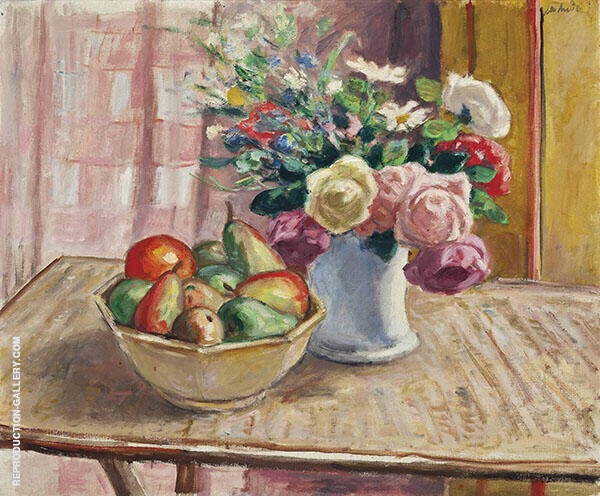 Flowers in a Vase with Fruit Painting By Albert Andre