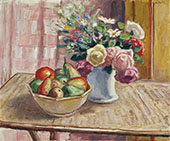 Flowers in a Vase with Fruit By Albert Andre