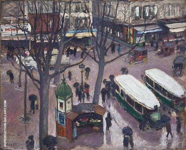 Les Autobus Place Pigalle Painting By Albert Andre - Reproduction Gallery