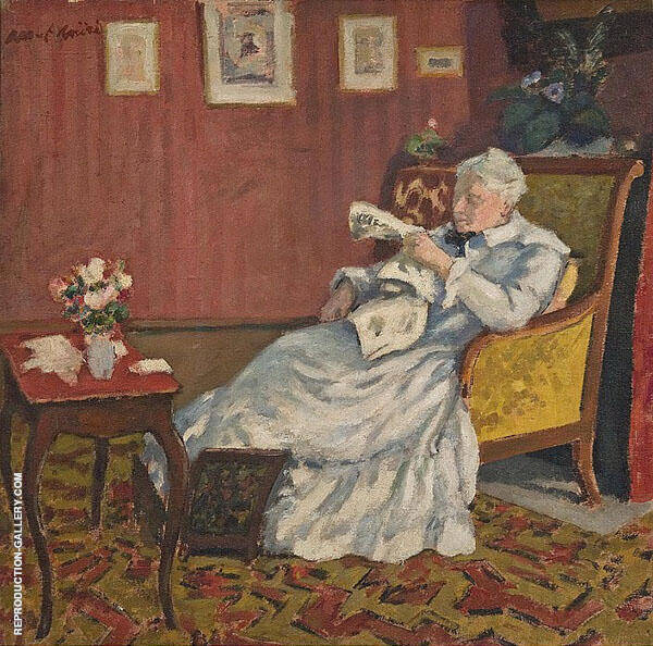 Old Lady in White Seated 1912 Painting By Albert Andre