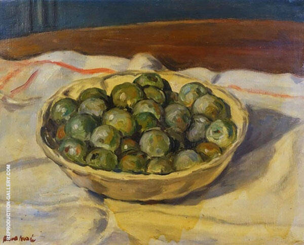 Still Life with a Bowl of Prunes Painting By Albert Andre