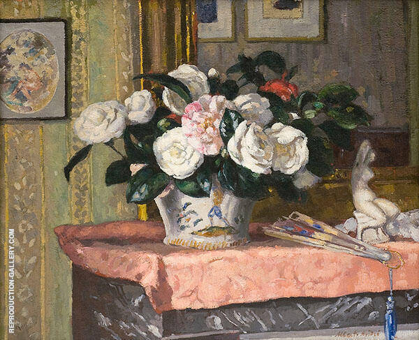 Still Life with Camelias Painting By Albert Andre - Reproduction Gallery