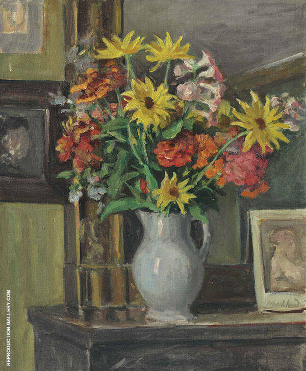 Still Life with Zinnias Painting By Albert Andre - Reproduction Gallery
