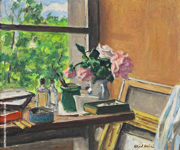 Table in front of Window Painting By Albert Andre - Reproduction Gallery