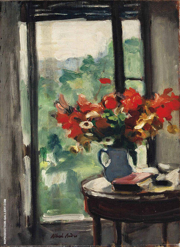 Vase of Flowers in front of The Window Painting By Albert Andre