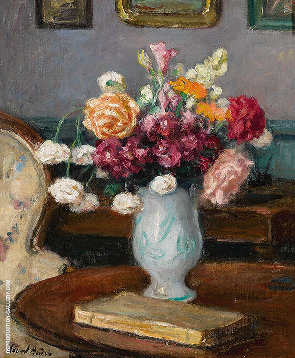 Vase of Flowers Undated Painting By Albert Andre - Reproduction Gallery