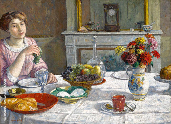Woman Eating Grapes Painting By Albert Andre - Reproduction Gallery
