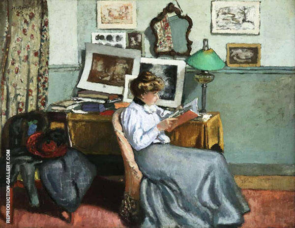 Woman Reading Painting By Albert Andre - Reproduction Gallery