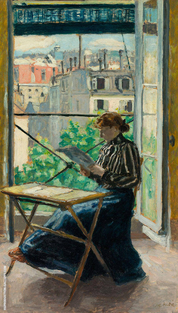 Woman Reading Before Window Painting By Albert Andre