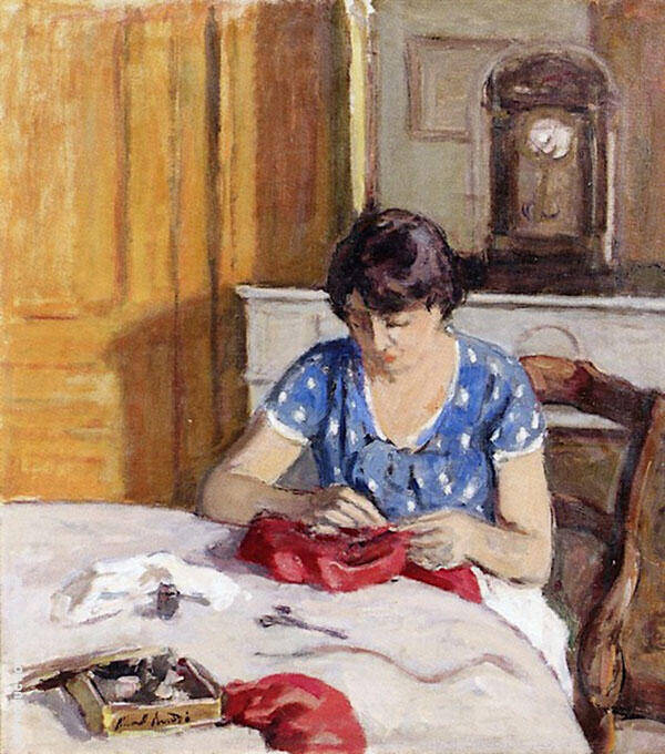 Woman Sewing in an Interior Painting By Albert Andre