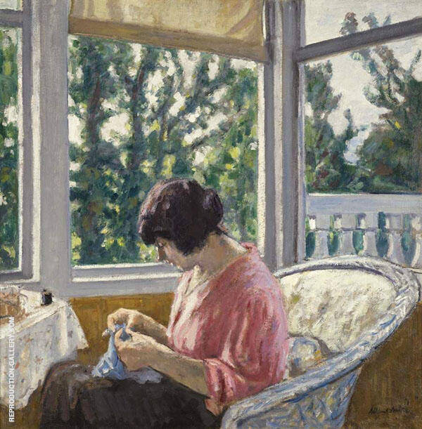 Young Woman Sewing 1913 Painting By Albert Andre - Reproduction Gallery
