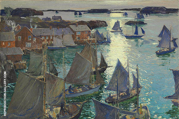 Anchored Boats 1919 By Jonas Lie