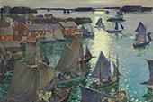Anchored Boats 1919 By Jonas Lie
