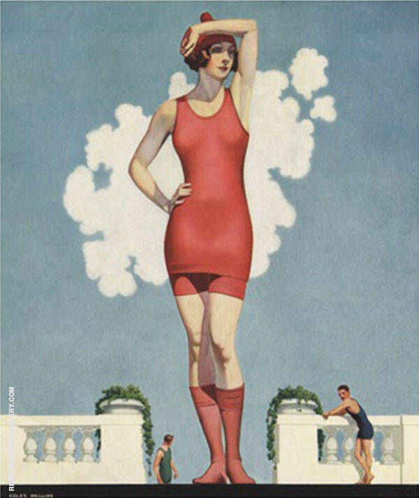 Bathing Beauty Painting By Coles Phillips - Reproduction Gallery