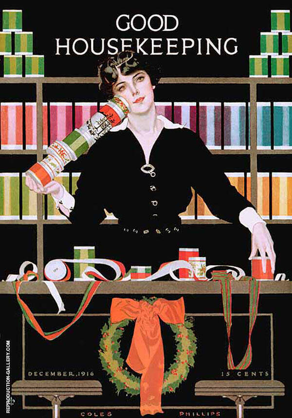 Gift Wrapping 1916 Painting By Coles Phillips - Reproduction Gallery