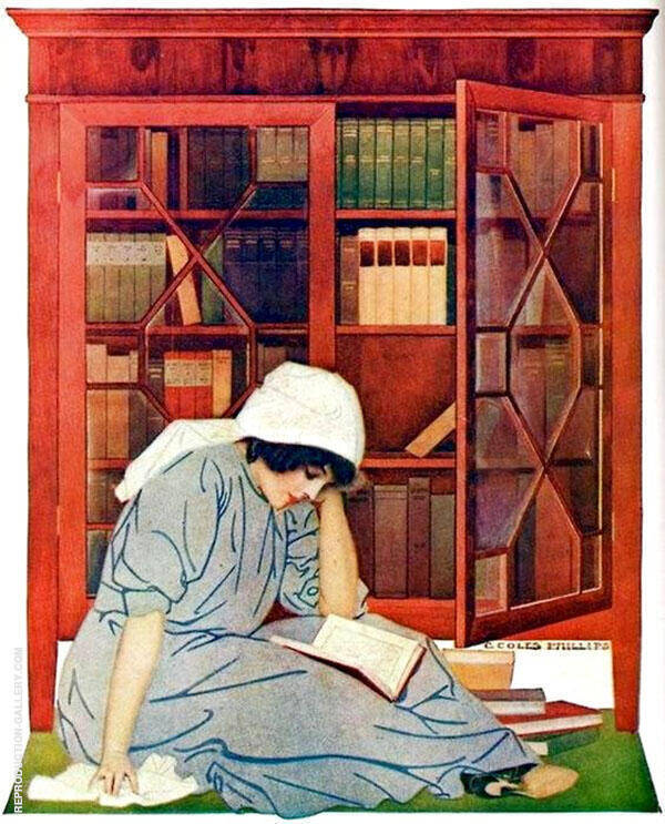 The Lure of Books Painting By Coles Phillips - Reproduction Gallery