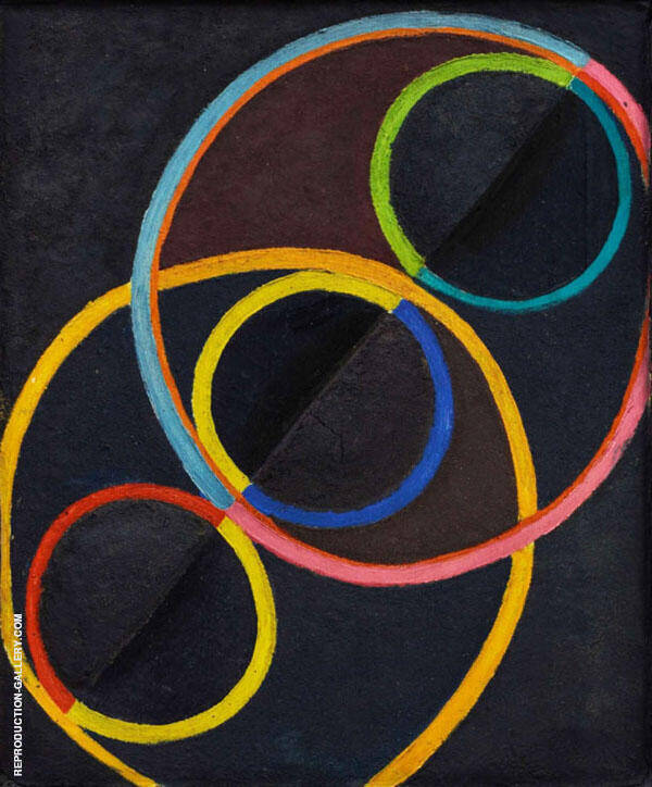Black Relief with Colored Circles c1930 Painting By Robert Delaunay