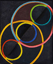 Black Relief with Colored Circles c1930 By Robert Delaunay