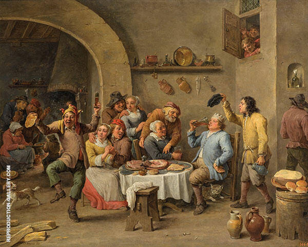The King Drinks c1650 Painting By David Teniers the Younger
