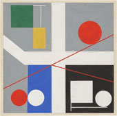 Four Spaces with Red Rolling Circles 1932 By Sophie Taeuber-Arp