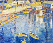 Main Street Tiburon with Boats By Selden Connor Gile
