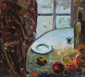 Still Life with Plate Fruit and Bottle on a Table 1940 By Selden Connor Gile
