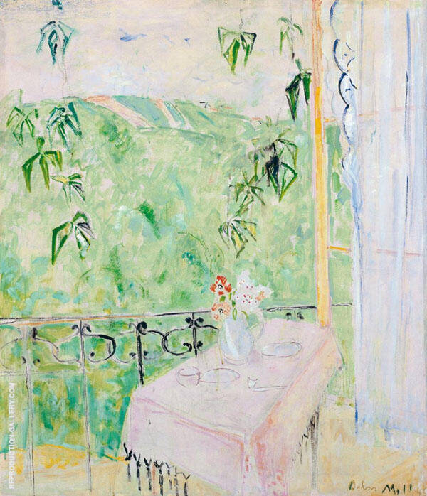Balcony View with Vine Leaves and Anemones By Oskar Moll