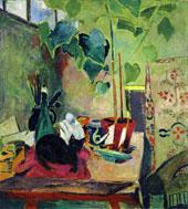 Cat with House Plant By Oskar Moll