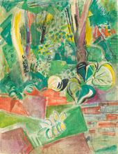 Garden with Wall By Oskar Moll