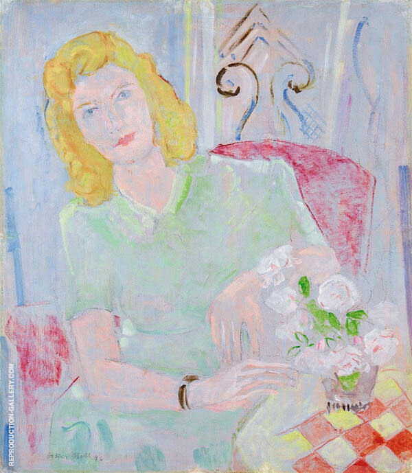 Green Lady in a Red Armchair By Oskar Moll