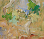 Landscape with Tower and Oak Leaves By Oskar Moll