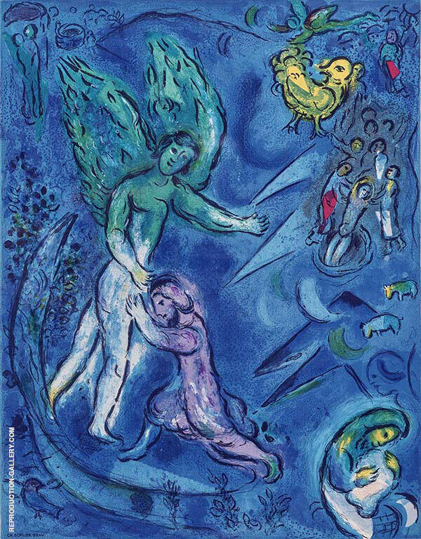 Study for Jacob Wrestling the Angel Painting By Marc Chagall