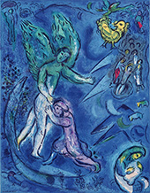 Study for Jacob Wrestling the Angel By Marc Chagall