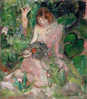 Nude with a Fan Among The Leaves By Oskar Moll