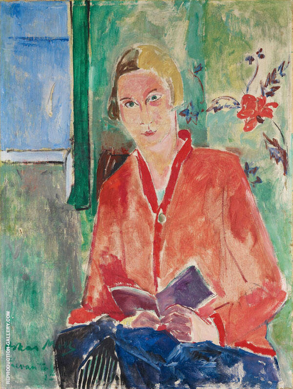 Reader with Red Jacket By Oskar Moll