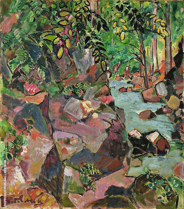 Rocks by a Brook By Oskar Moll