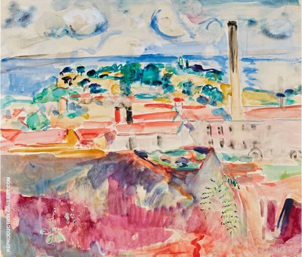 Southern Landscape with Factory By Oskar Moll
