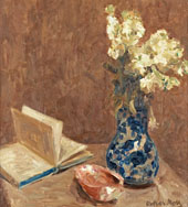 Still Life with Book and Flowers By Oskar Moll