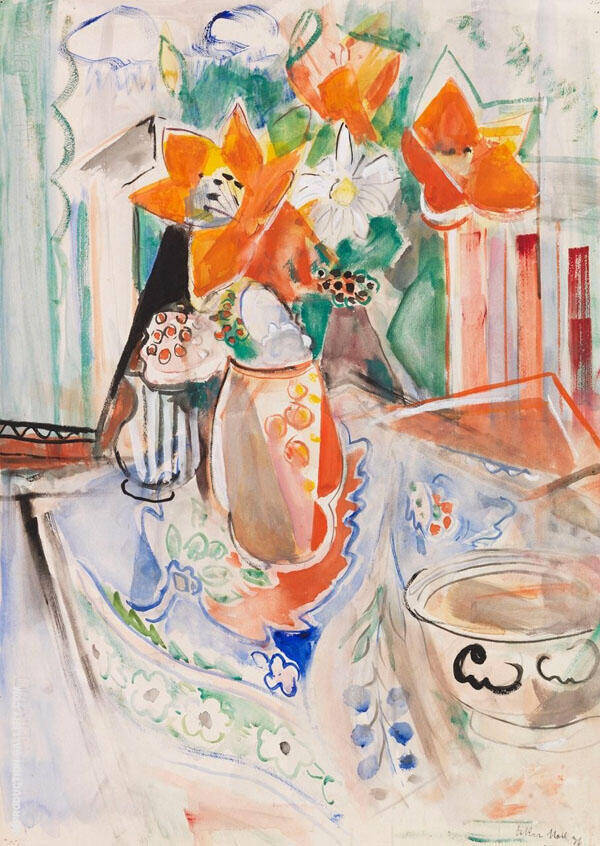 Still Life with Flowers Bowl and Striped Jug By Oskar Moll