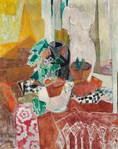 Still Life with Fringe Blanket Flower Pots and Torso By Oskar Moll