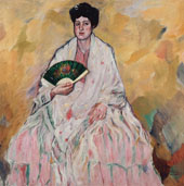 Woman with Fan By Francisco Iturino