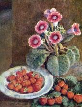A Flower in a Pot and Strawberries By Ilya Mashkov