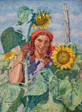 Girl with Sunflowers Portrait of Zoya Andreeva 1930 By Ilya Mashkov