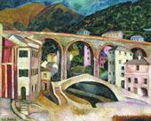 Italy Nervi Landscape with Aqueduct 1913 By Ilya Mashkov