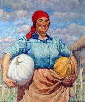 Kolkhoz Woman with Pumpkins 1930 By Ilya Mashkov