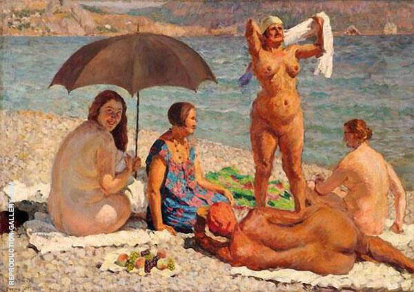 on The Beach Gurzuf Painting By Ilya Mashkov - Reproduction Gallery
