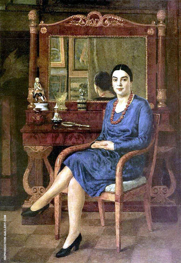 Portrait of a Lady in Blue Painting By Ilya Mashkov - Reproduction Gallery