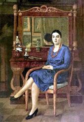 Portrait of a Lady in Blue By Ilya Mashkov