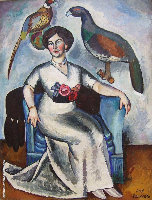 Portrait of a Lady with Pheasants 1911 Painting By Ilya Mashkov