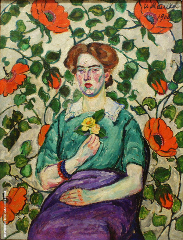 Portrait of a Woman II Painting By Ilya Mashkov - Reproduction Gallery